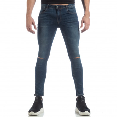 Blugi Skinny de bărbați albaștri cu fermoare it040219-6 3