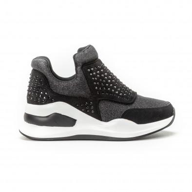 Pantofi sport negri de dama cu pietre și părți strălucitoare it150818-68 2