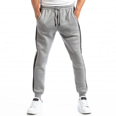 Pantaloni sport gri cu benzi pentru bărbați it250918-39 3