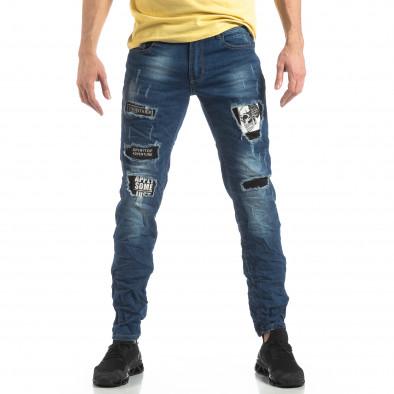 Blugi albaștri pentru bărbați cu imprimeu patch-uri it210319-8 3