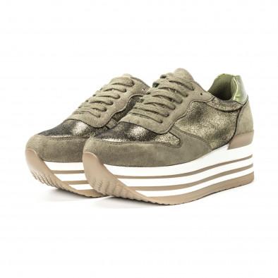 Pantofi sport cu platforma pentru dama în verde militar it150818-65 3