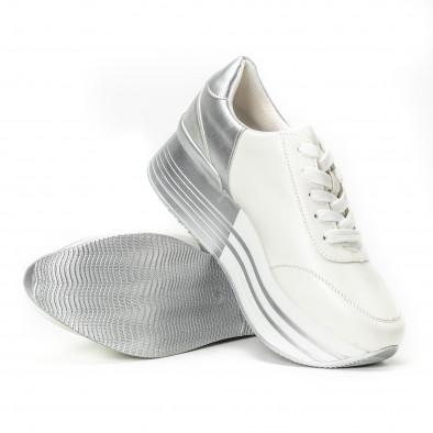 Pantofi sport cu platforma în argintiu-alb pentru dama  it150818-70 4