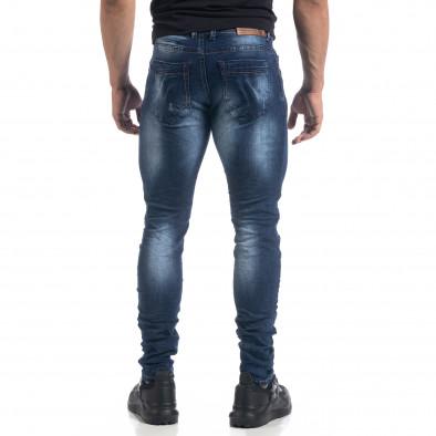 Blugi de bărbați albaștri cu efecte Fashion Slim fit it071119-14 3