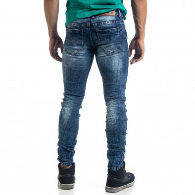 Blugi de bărbați Washed albaștri cu efect șifonat Slim fit it041019-35 4