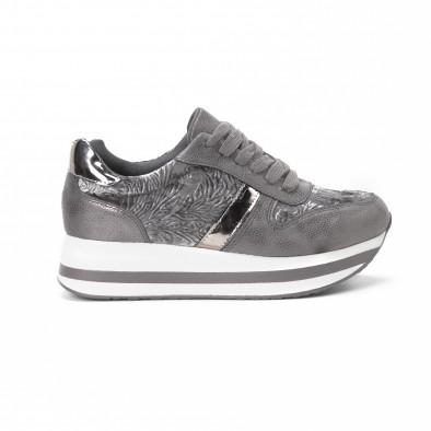 Pantofi sport cu platforma de dama în gri it150818-80 2