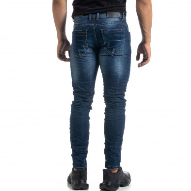 Blugi de bărbați albaștri cu efect decolorat și rupturi Slim fit it041019-29 4