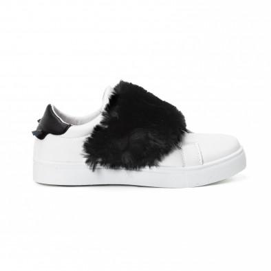 Teniși Slip-on albi de dama cu călcâi și puf negru  it150818-56 2