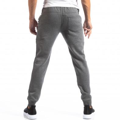 Pantaloni sport gri pentru bărbați Track Biker style it250918-54 4