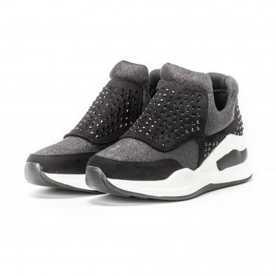 Pantofi sport negri de dama cu pietre și părți strălucitoare it150818-68 3