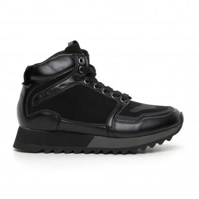 Pantofi sport înalți negri pentru bărbați it130819-23 2