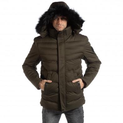 Geacă verde lungă de iarnă pentru bărbați it261018-123 3