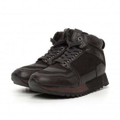 Pantofi sport înalți maro pentru bărbați it130819-26 3