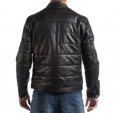 Geacă pentru bărbați neagră din imitaţie de piele cu guler înalt it250918-89 4