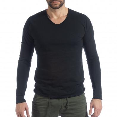 Bluză în negru V-neck pentru bărbați  it040219-88 2