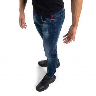 Blugi de bărbați albaștri cu efect decolorat și rupturi Slim fit it041019-29 2