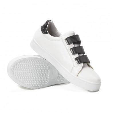 Teniși albi de dama cu călcâi strălucitor it150818-57 4