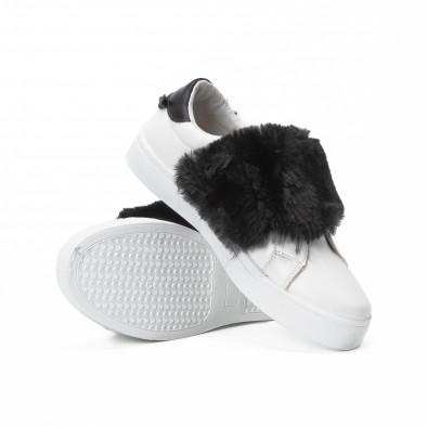 Teniși Slip-on albi de dama cu călcâi și puf negru  it150818-56 4