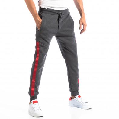 Pantaloni sport gri închis cu benzi roșii pentru bărbați it250918-45 2