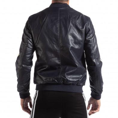 Geacă albastră pentru bărbați din imitaţie de piele cu benzi contrastante it250918-90 4