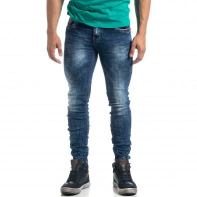 Blugi de bărbați Washed albaștri cu efect șifonat Slim fit it041019-35 3