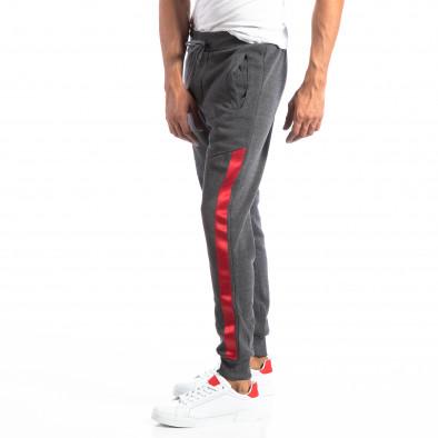 Pantaloni sport gri închis cu benzi roșii pentru bărbați it250918-45 3