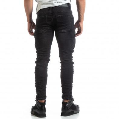 Cargo Jeans negri de bărbați stil rocker it170819-53 4