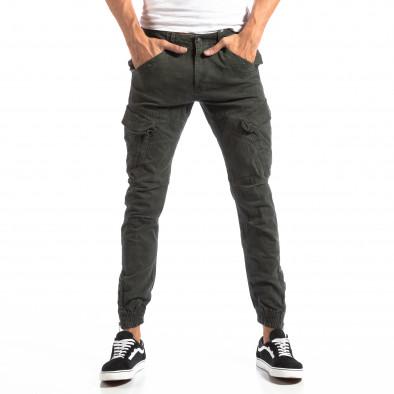 Pantaloni cargo verzi de bărbați cu fermoare la crac it250918-1 3
