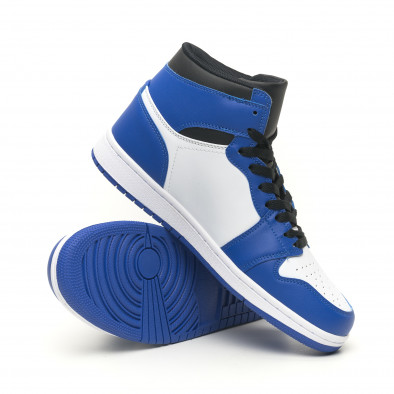 Teniși înalți de bărbați în albastru și alb it251019-21 5