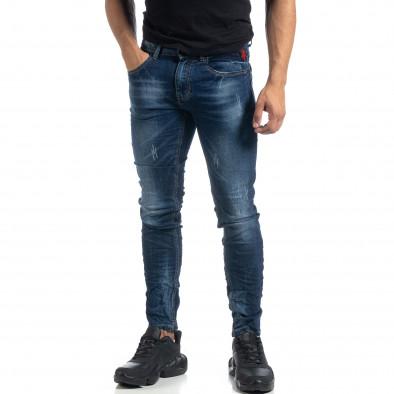 Blugi de bărbați albaștri cu efect decolorat și rupturi Slim fit it041019-29 3