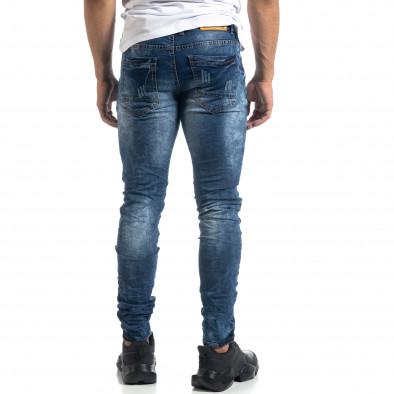 Blugi de bărbați albaștri cu efect decolorat Slim fit it041019-33 4