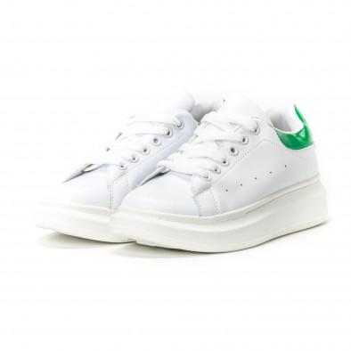Teniși de dama albi cu călcâi verde lăcuit it150818-35 3
