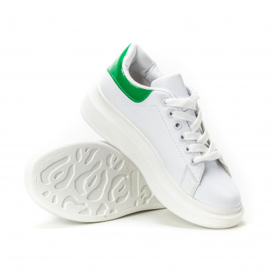 Teniși de dama albi cu călcâi verde lăcuit it150818-35 4