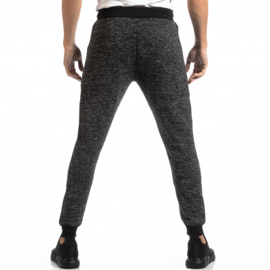 Pantaloni sport pentru bărbați în melanj negru-gri it261018-53 4
