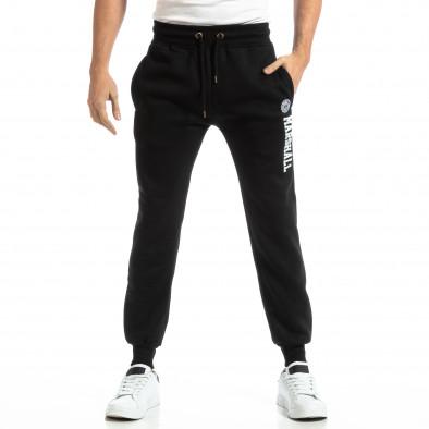Pantaloni sport pentru bărbați negri cu inscripție it261018-43 3