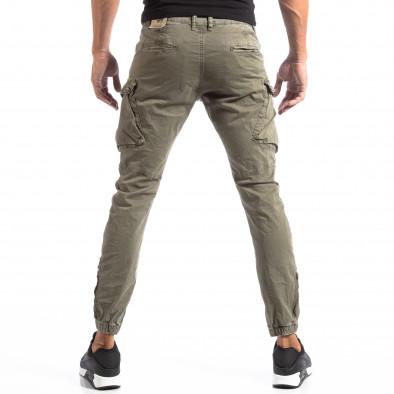 Pantaloni cargo verzi de bărbați cu fermoare la crac it260918-4 4