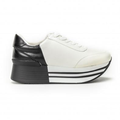 Pantofi sport cu platforma în negru-alb pentru dama  it150818-72 2