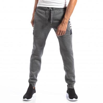 Pantaloni sport gri pentru bărbați Track Biker style it250918-54 3