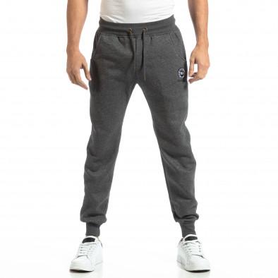 Pantaloni sport groși în melanj gri pentru bărbați it261018-41 3