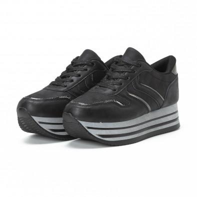 Pantofi sport de dama cu platforma în negru-gri it150818-31 3