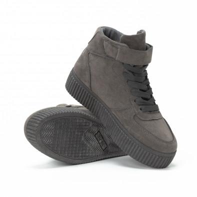 """Teniși înalți gri de dama cu banda adeziva tip """"Velcro"""" it150818-32 4"""