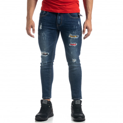 Blugi de bărbați Cropped albaștri cu accente Slim fit it041019-37 3