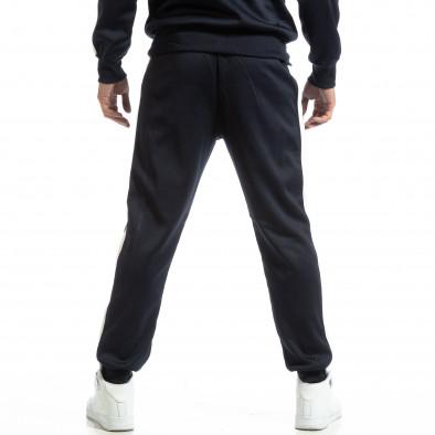 Pantaloni sport pentru bărbați albaștri cu benzi albe it261018-65 4