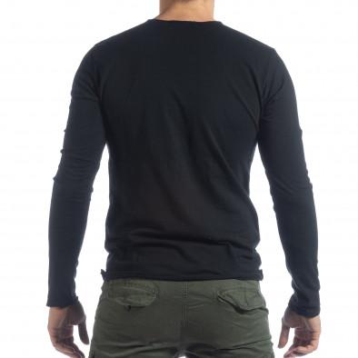 Bluză în negru V-neck pentru bărbați  it040219-88 3