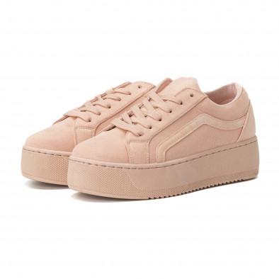 Teniși All pink pentru dama cu platforma it150818-50 3