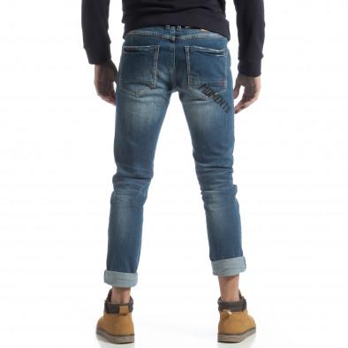 Blugi albaștri pentru bărbați cu imprimare și manșete it051218-7 4