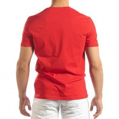 Tricou roșu pentru bărbați cu aplicații din cauciuc it150419-70 4