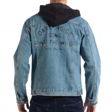Jachetă cu glugă pentru bărbați RESERVED în albastru deschis lp070818-85 3