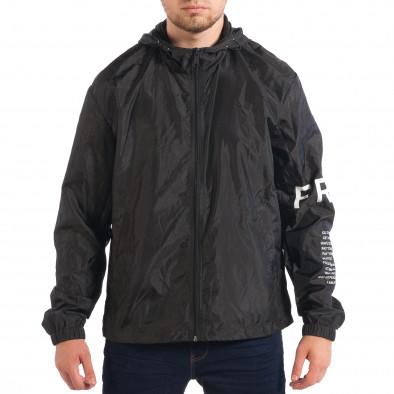 Jachetă neagră de primăvară-toamnă pentru bărbați RESERVED lp070818-87 2
