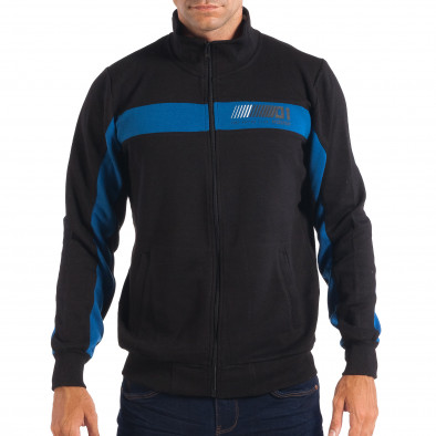 Hanorac negru de bărbați House cu părți albastre lp080818-115 2
