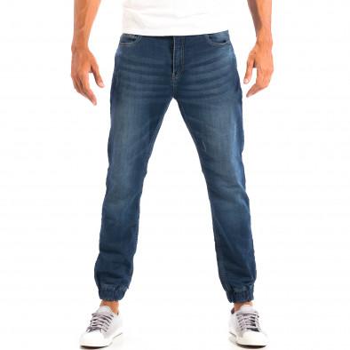 Blugi albaștri pentru bărbați House cu elastic la glezna lp060818-47 2